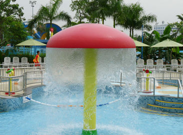 Eco-friendly Kids Colorful Mushroom Water Fun Amusement Park Equipment Red Yellow