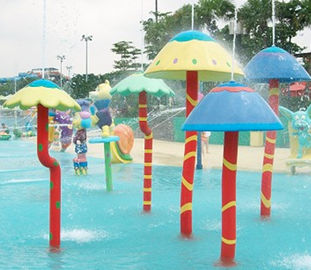 Customized  Waterpark Fiberglass Spray Mushroom Aqua Equipment For Kids Games