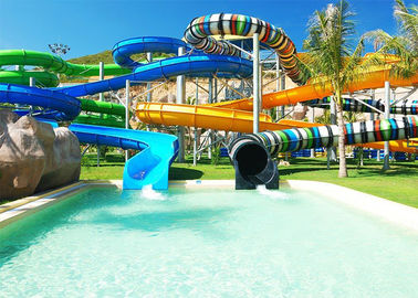 Multi Lane Fiberglass Water Slide Variable Spiral Tube Free Fall Into Slide