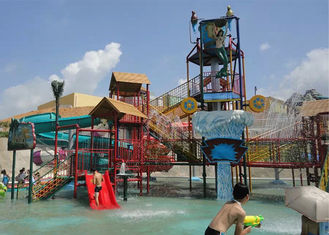 Medium Aqua Playground Water House , Commercial Water Park Equipment With Slide