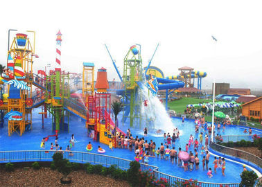 Colorful Outdoor Aqua Playground , Fiberglass 29x27m Kids Water Slide