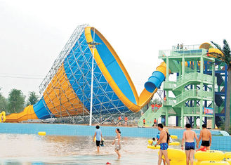 14.2m Height Tornado Water Slide , Fiberglass Huge Water Slide 160 Ft Tunnel