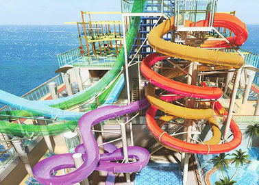 Water Park Spiral Colorful Water Slide Safety Steel Bracket For Aqua Park
