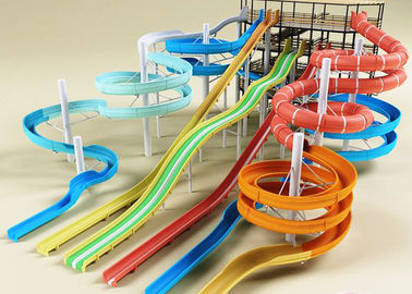 Holiday Resort Spiral / Long Water Slide Adult Commercial Colorful FRP