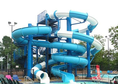Aqua Play Fiberglass Water Slide , Combination Commercial Pool Water Slides
