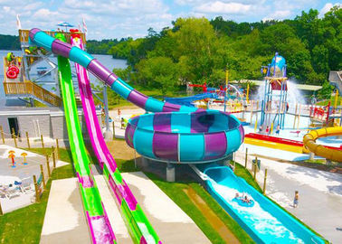 Open / Close High Speed Water Slide Red And Blue Fiberglass Commercial Equipment