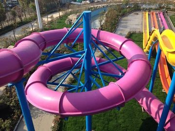 Fiberglass Water Slides , Theme Park Commercial Water Slides For Hotel and Resort