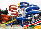 China Fiberglass Tube Spiral Water Slide Red / Blue Swimming Pool Equipment company