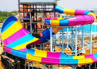 Colorful Custom Water Slides , 16m Height Open / Close Large Spiral Slide