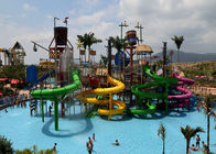 Fun Aqua Playground / Amusement Park Slide With Spray / Water Curtain