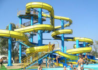 Blue Yellow Water Park Slide Combined , Fiberglass Large Spiral Slide Equipment