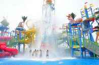 Big Interactive Fiberglass Water Play House With Water Slide / Aqua Park Equipment