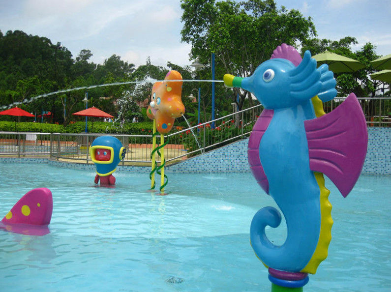 Water Games Kid Friendly Water Parks Cartoon Hippocampus Spray Blue Color