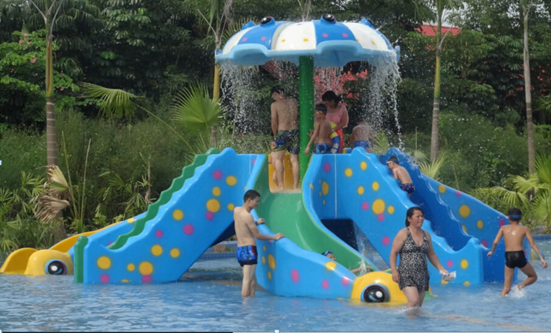 Interactive Kids and Adult Fiberglass Slides Swimming Pool Play Equipment