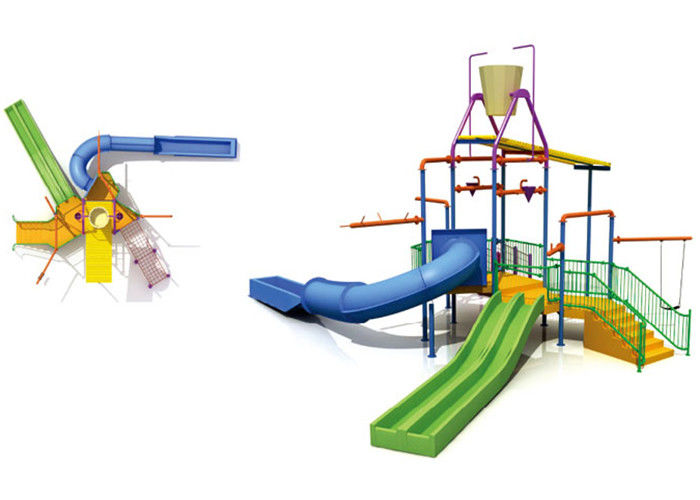 Kids Water Park Construction Water House Structures With Climb Net / Spray
