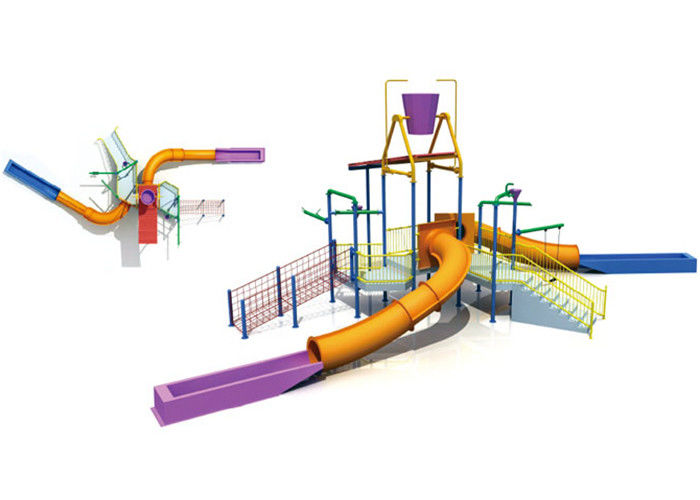 Professional Kids Commercial Playground Equipment Structures With Slide / Climb Net
