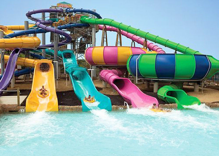 Theme park family water slide fiberglass swimming pools water slides for all ages for Swimming pools with waterslides