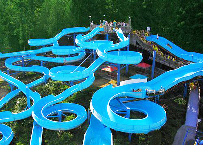 Bright blue fiberglass open spiral slide adult swimming - Swimming pool accessories for adults ...
