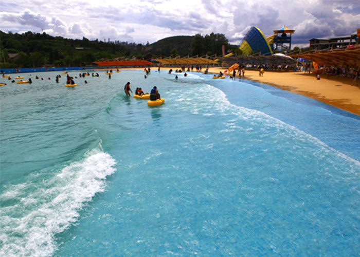 Pneumatic Water Park Wave Pool 0.9-1.5 Wave Height With Artificial Sandy Beach
