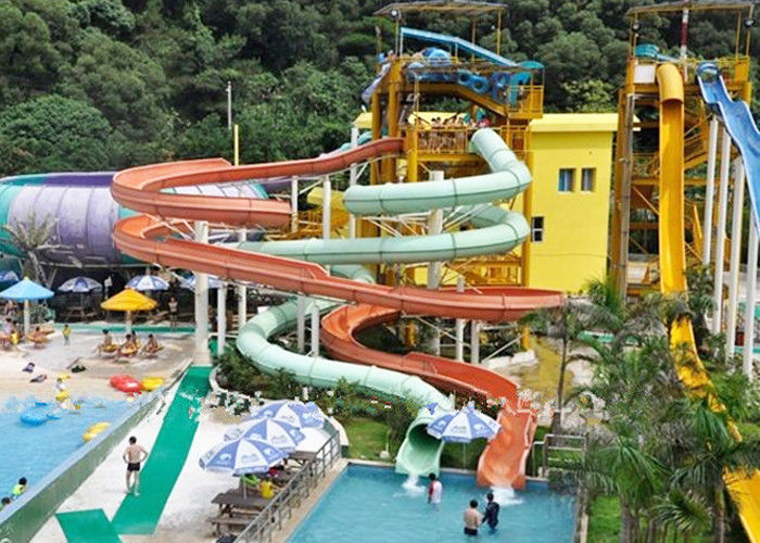 Famlily Swimming Pool Water Slides FRP 2-14 Visitors For Holiday Resort