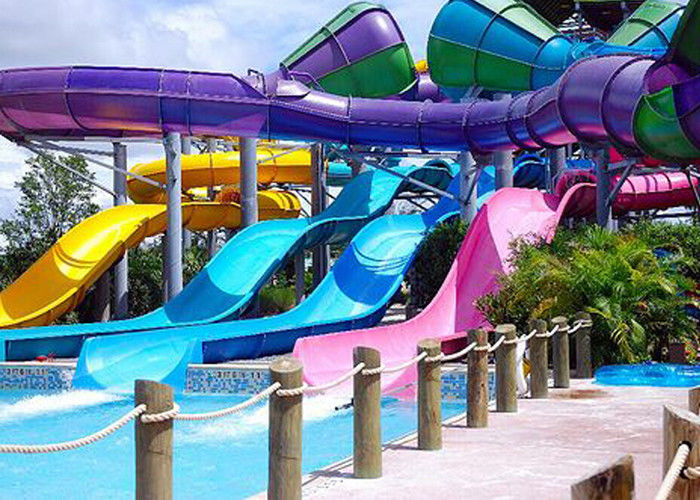 Spiral Fiberglass Big Water Slides Water Park Equipment Raft Slide For Hotle Resort