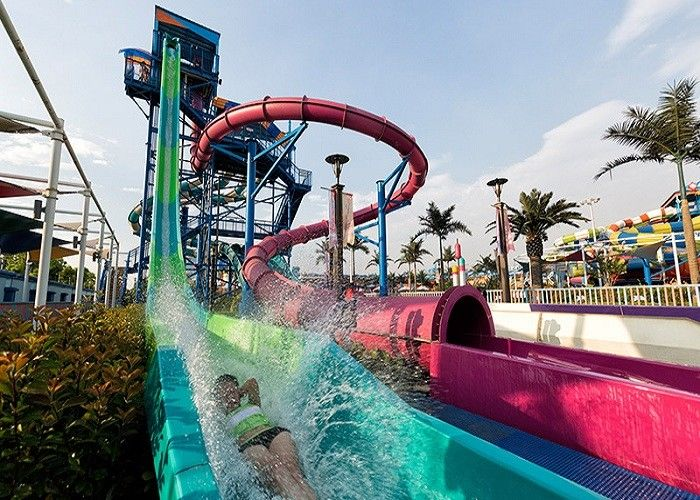 Funny Fast Fall Water Slide Playground With Fiberglass Galvanize Steel Material