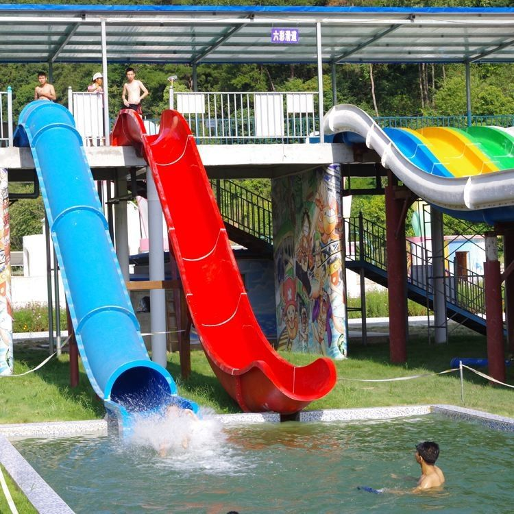 Water Park Swimming Pool Slides , Fiberglass Barrel And Sled Slides