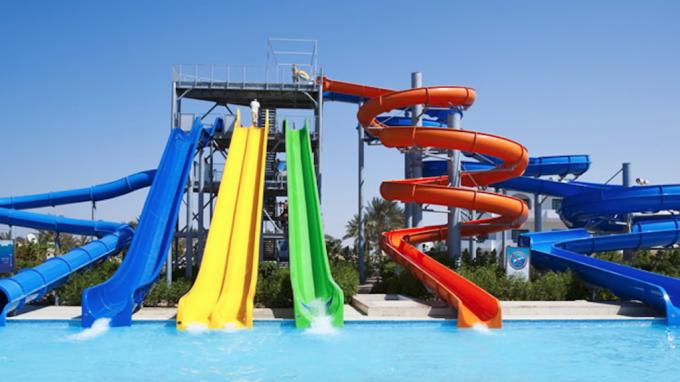 Fiberglass Combination Water Park Slide For Adult / Spiral Swimming ...