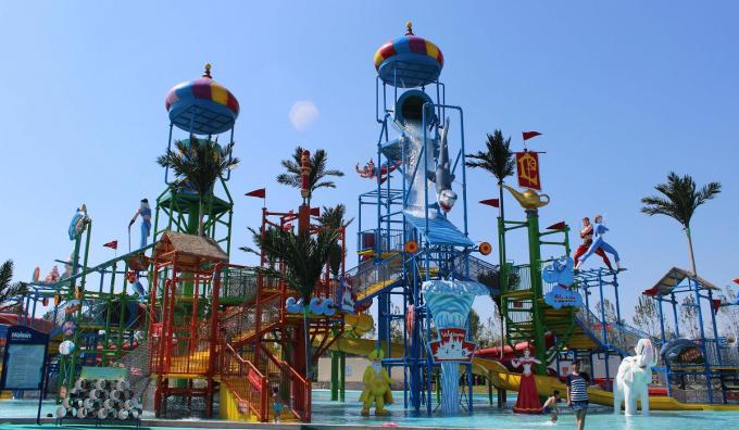 Fiberglass Aqua Playground Equipment Natural Forest Theme Water House For Resort Hotel