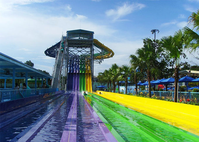 Rainbow Color FRP Aqua Racer Water Slide Youth Adults Outdoor Waterslide