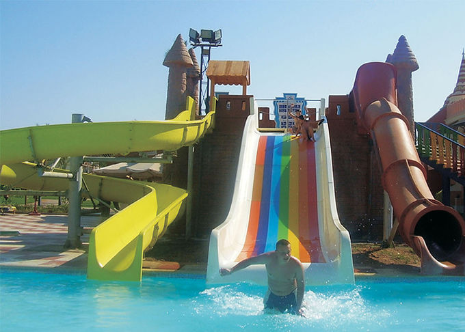 Fun Aqua Park Water Slide Green / Yellow Smooth Fiberglass Family Size