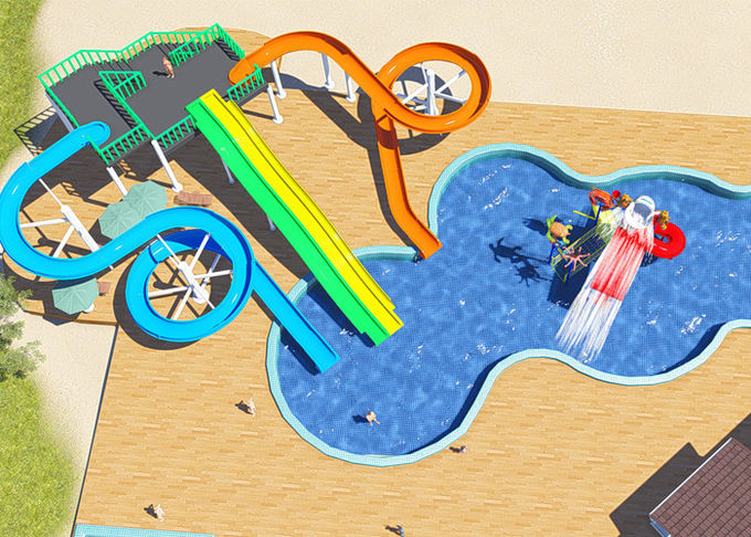 Commercial Water Park Design Slides , Spiral FRP Water Play Design