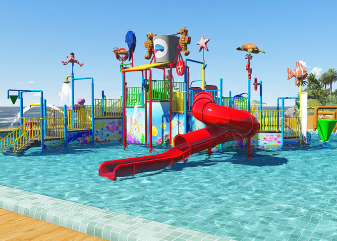 Family Slide Theme Park Design Spiral / Straight Fun Interactive Water Rides