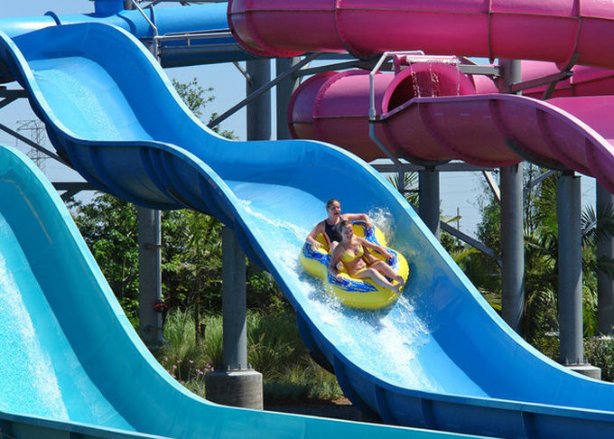 Outdoor Speed Water Slide Aqua Water Park Swimming Pool Commercial Slide Blue Color