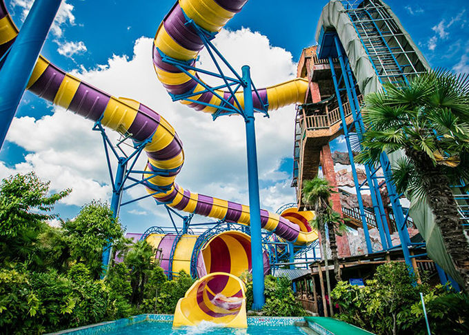 Huge Spiral Water Slide Playground / Adult Commercial Swimming Pool Slides